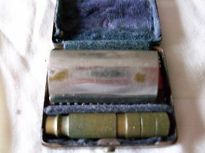 "2"" Antique Handmade Safety Razor with Travel Case & Gillette Razor Safety Razor"