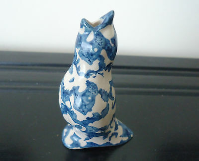 POTTERY PIE BIRD Mottled Blue Free Shipping