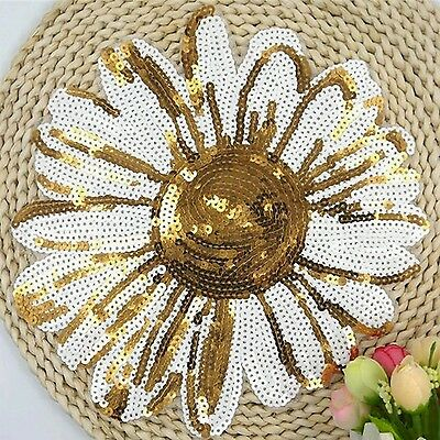 Sequin Embroidered Iron on Daisy Flower Patch Applique Motif - 24cm Gold & White
