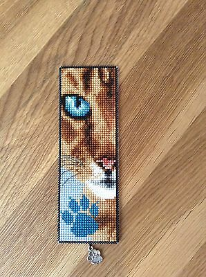 Completed Cross Stitch - Cat By Vervaco With Glitter Paw Print