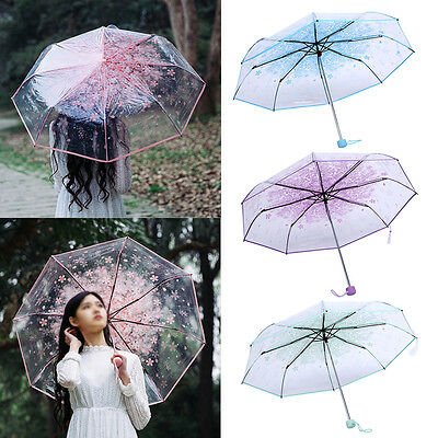 Purple Transparent Umbrella Three Fold Sun Rain Umbrellas Cherry Blossom Rain