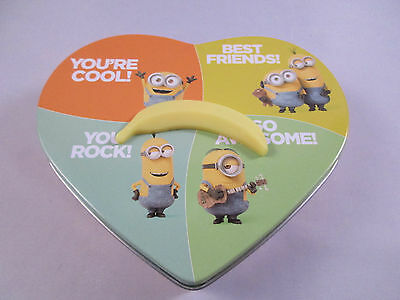 Minions Valentine Heart Shaped Tin With Spinning Banana - 2 Unopened Candy Packs