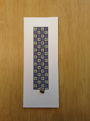 Completed Cross Stitch - Bookmark/Greetings Card With Beads