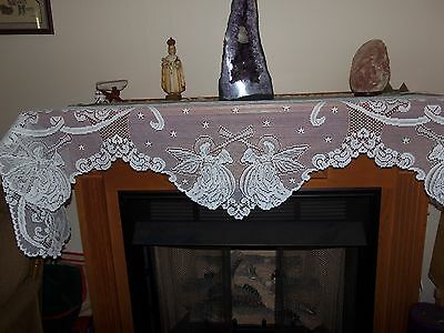 """New White lace Angel design Mantel Scarf  20"""" x 95"""""""