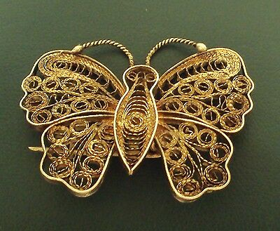 VINTAGE BEAUTIIFUL SILVER FILIGREE BROOCH BUTTERFLY MADE 19 to 20th CENTURY #141