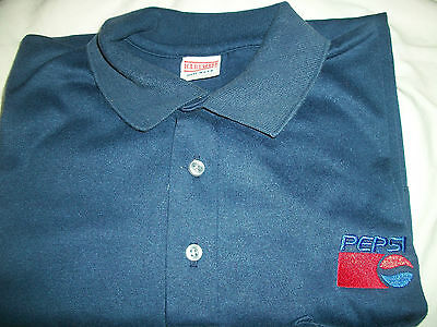 PEPSI LOGO GOLF SHIRT WITH POCKET, NEW SHIRT MADE IN U.S.A by HARTWELL, LARGE