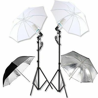 Studio Photography 1250W Lamp Umbrella Light Stand Set Continuous Lighting Kit