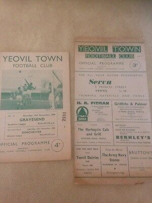 2 x Yeovil Town FC Programmes 1950s  Listed