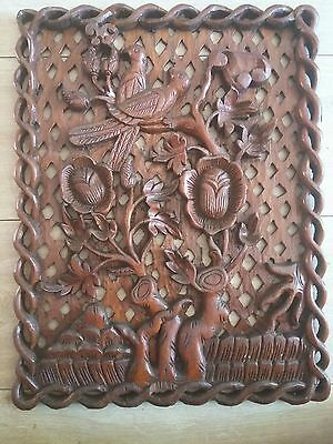 Vintage Block Wood Carving Wall Hanging Panel ? Display .Birds Indian Carved ?
