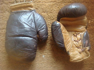 Pair Of Vintage Leather Lace Up Boxing Gloves