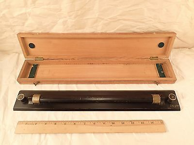 """Antique Nautical Brass Parallel Rolling Rule W. H. HARLING 18""""L boxed 1900s"""
