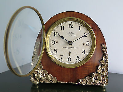 "Rare BULLE CLOCKETTE Art Deco  "" Les Eglantines ""  1925  bronze electric clock"