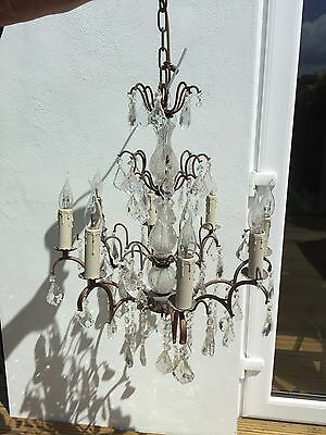 French Antique Bronze Effect 8 Branch Crystal Chandelier