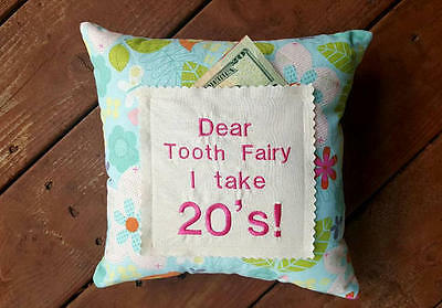 Embroidered Tooth Fairy Pillow, Personalized Pillow for Girl, Handmade in NJ