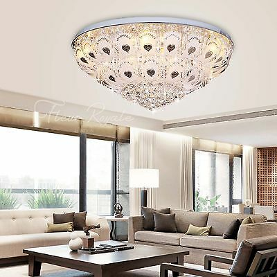 77381346 80CM Luxury Round Living Dining Room Hall Ceiling Light Crystal Glass