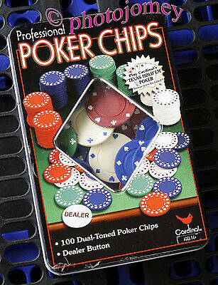 Cardinal 100 Professional Dual toned Poker Chips Used, vgc in tin box.