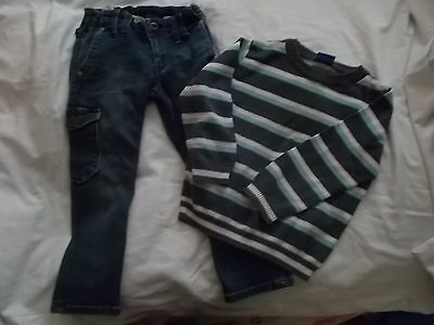 H&M fashion jeans + f&f striped jumper 2-3 years