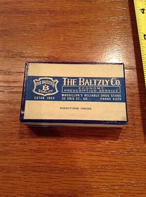 Vintage The Baltzly Co Prescription Drug Store Box Ad Massillon OH 4 digit phone