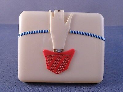 Wonderful ART DECO Vintage CELLULOID Cigarette Box w/ Hand Clasp Japan 1930s