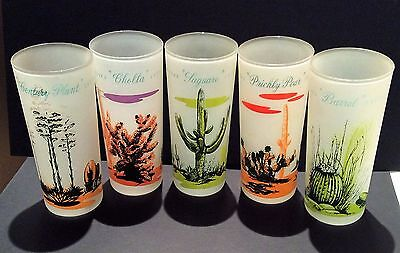 Vintage Blakely Gas & Oil Arizona Cactus Frosted Glass Tumblers SET of 5 NICE!!