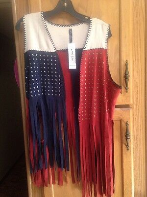NWT, Women's Vocal, Fringe Vest, Red,white and Blue, Sz LG