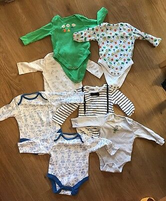 BABY BUNDLE Long sleeve Vests 0-3 Months Robot Stripe