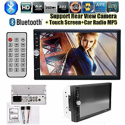 "Double 2Din 7"" Bluetooth Car Stereo Radio Touch Screen MP5 MP3 Player FM USB AUX"
