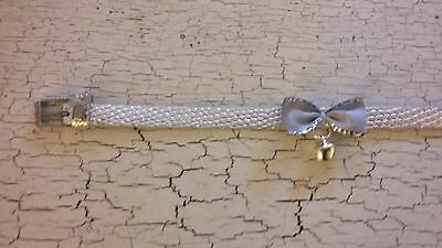 hand crafted silver kitten collar with silver bow