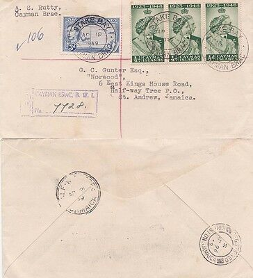 Cayman Islands 1949 Registered  from Stake Bay/Cayman Brac to Jamaica.