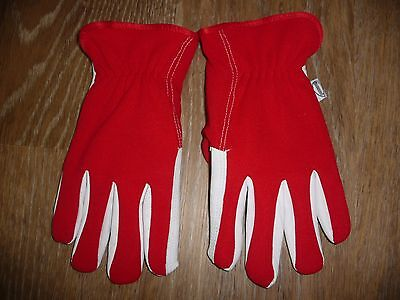 Burwood Lined Dual Leather Gardening Gloves - Red & White - New - medium