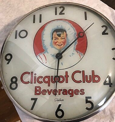 Rare Clicquot Club Beverages Lighted Clock Telechron Vintage 1950's Soda!