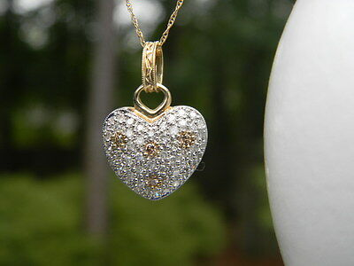 10K Yellow Gold Diamond Pave Dome Heart Pendant Necklace Chain Charm