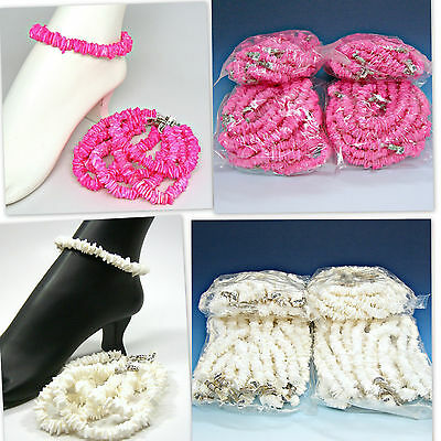 SALE 48 Pc Lots Surfer SUP Girls Square Cut Puka Shell Anklets Pink or White