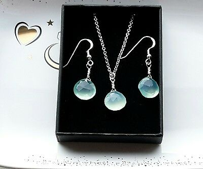 Hand made aqua blue chalcedony necklace and earrings set