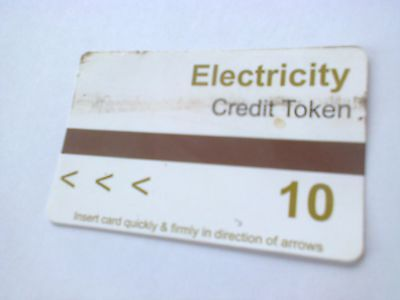 Electricity meter card £10 credit token from pontins
