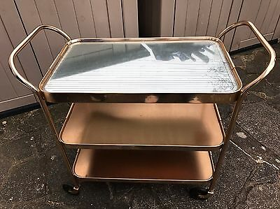 Heated Drinks Trolley Vintage 3 Tier Anodised Gold Drinks Food Coc