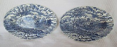 A Pair of Vintage Myott Royal Mail - Oval Dishes - Blue and White