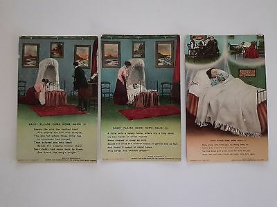 Postcards Bamforth & Co series 4562, 1, 2, 3 Daddy Please Come Home Again