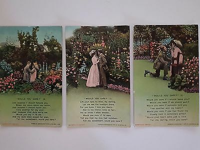 Postcards Bamforth & Co series 4564, 1, 2, 3 Would You Care?