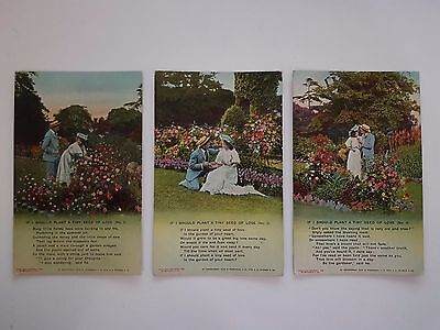 Postcards Bamforth & Co series 4538, 1,2,3 If I Should Plant A Tiny Seed Of Love