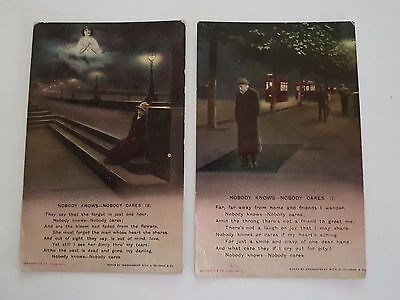 Postcards Bamforth & Co series 4560, 1, 3 Nobody knows-Nobody Cares