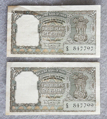 2 India Reserve Bank 2 Rupees Banknotes 1962-1967 Almost Sequential