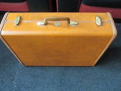 'vintage Samsonite' Large Brown Lined Suitcase 1950's Vgc
