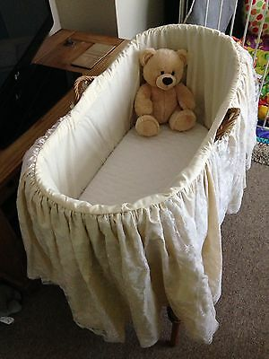 Vintage Baby Moses Basket With Stand And Lace Dressing
