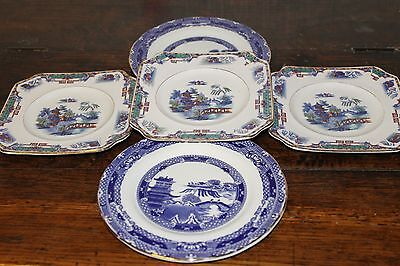 5 blue and white oriental side plate willow pattern wade ceramics Ringtons