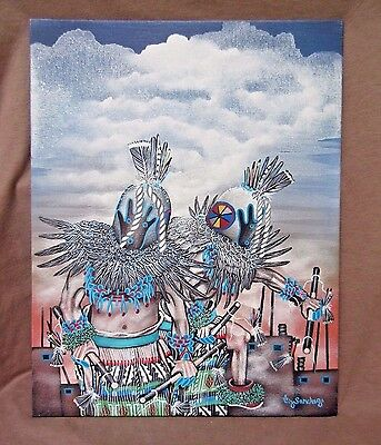 Zuni Acrylic on Canvas Board Painting - Two Kachinas by Anthony Sanchez HP0048