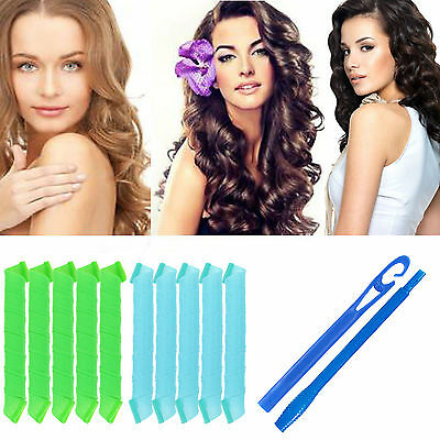20/40 PCS 50CM Curl DIY Hair Curlers Tool Spiral Circle Magic Styling Rollers US