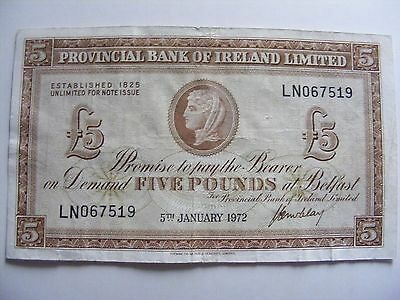 SUPERB 1972 £5 Five Pound Sterling PROVINCIAL BANK OF IRELAND LIMITED Banknote
