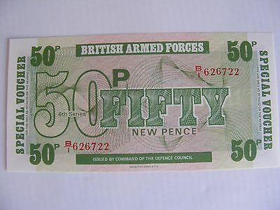 1972 50p Note BRITISH ARMED FORCES Military 6th Series Special Voucher Money UK