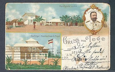 German Colony Togo Gruss aus Togo picture postcard 1899 Homberg Germany use